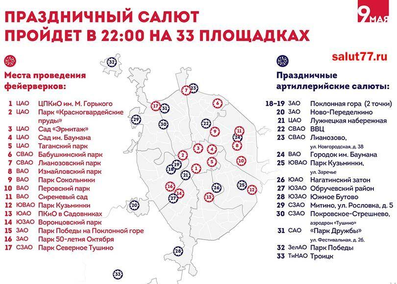 салют в Москве 9 Мая 2018 в парках