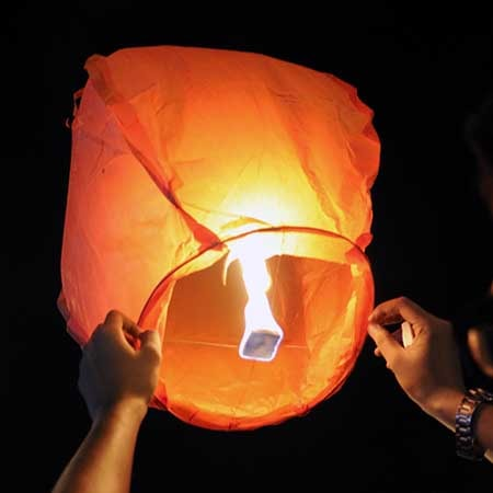 Китайские небесные фонарики горящие шары